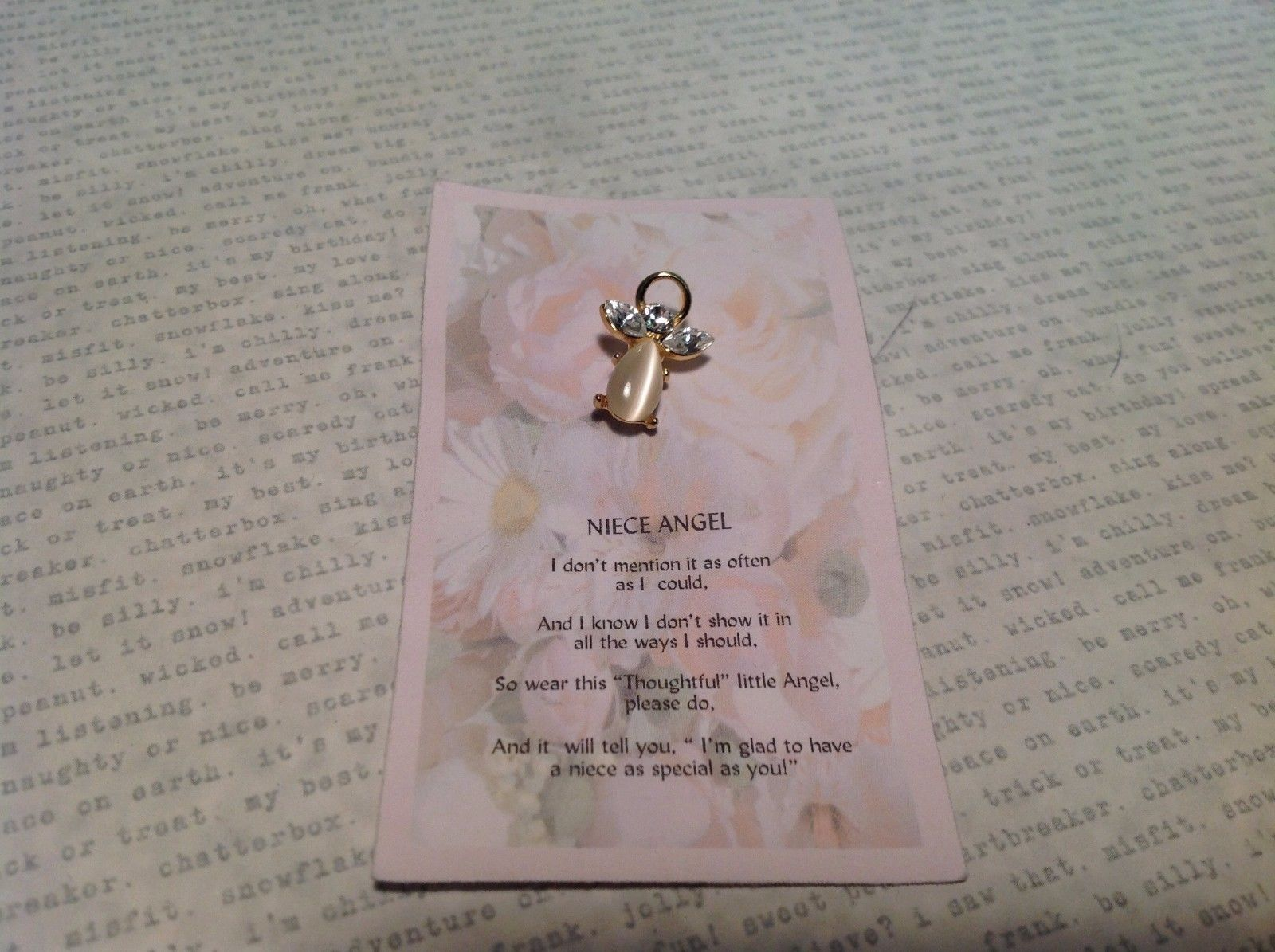 NEW Gold Tone Niece Angel Pin w Clear Crystals and Semi Translucent Stone