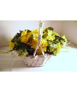 White Wicker Basket with Yellow Roses and Daisies - $12.00