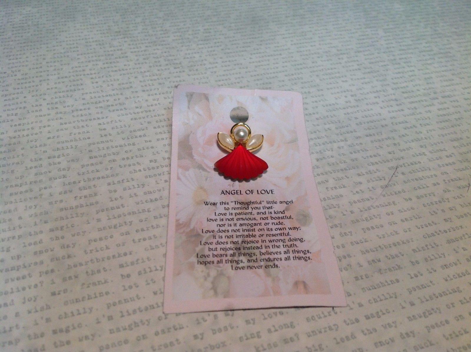 NEW Gold Tone Angel of Love Stud Pin w Red and Faux Pearls