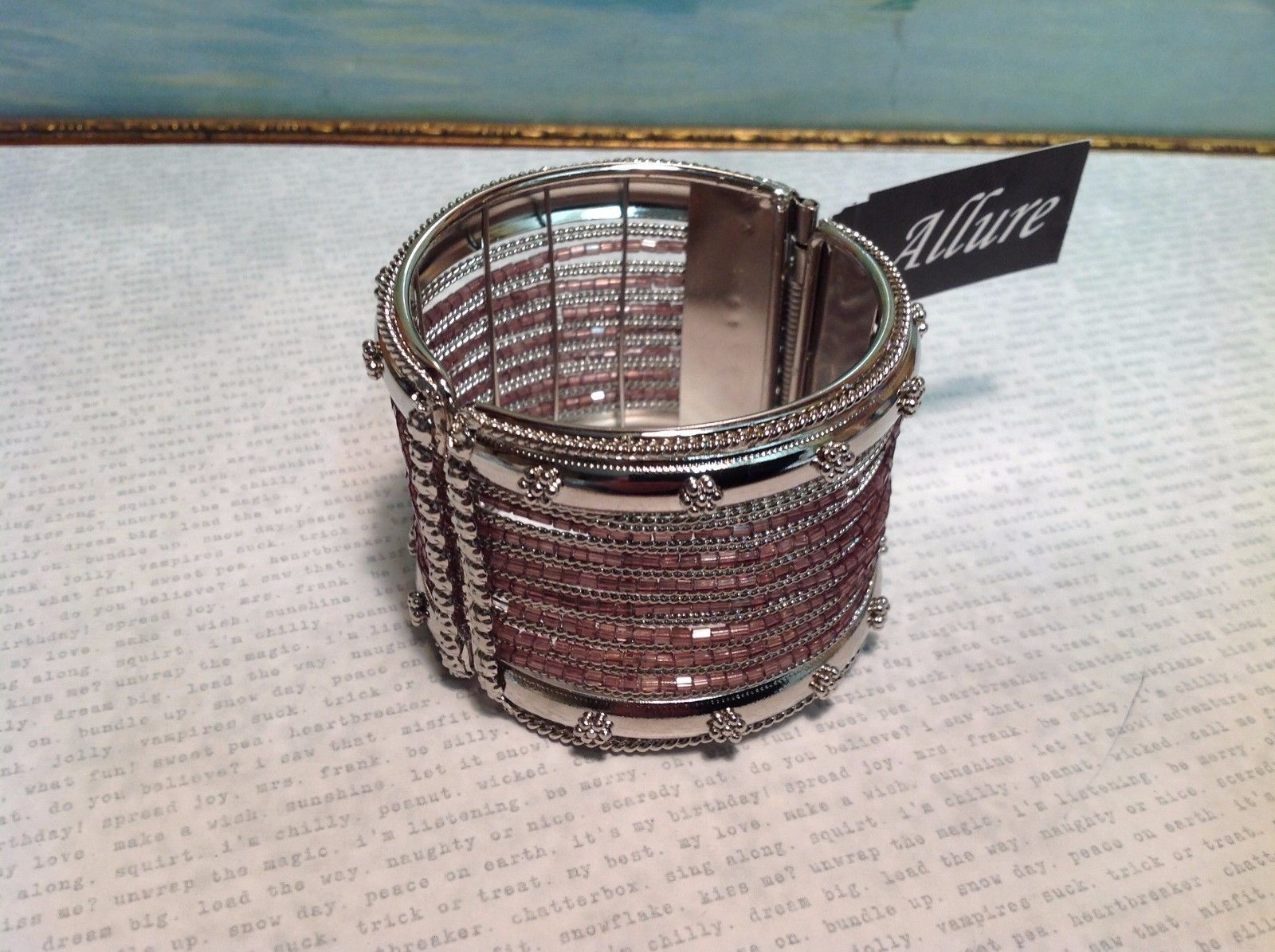 NEW Allure Wide Cuff Spring Lock Bracelet w Light Purple Beads