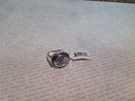 NEW Silver Tone Ring w Large Clear Crystal and Filigree Sz 7