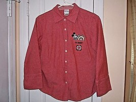 Disney Junior Size M  3/4 Sleeve Shirt Pink MIckey Mouse 100% Cotton Ver... - $7.14