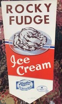 HENDLERS ICE CREAM Rocky Fudge vintage unused paper store sign (1940) *** - $9.89