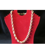 "Retro / Vintage Avon ""Spectator Link"" Chain Necklace, White & Gold Toned... - ₨704.45 INR"