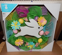 "Easter Wreath 18"" Bunny Eggs Flowers Mesh Type Celebrate The Season 107T - $32.49"