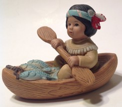 LEAPING WATER & RUNNING BEAR INDIAN 8817 FIGURINE HOME INTERIORS BOY CANOE - $13.86