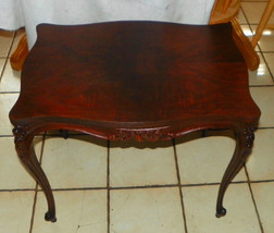Walnut Book Match Veneer Carved End Table / Side Table - $399.00
