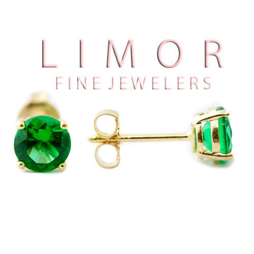 4MM 5MM 6MM 14K YELLOW GOLD COVERED SILVER EMERALD ROUND SHAPE STUD EARRINGS - $14.84 - $34.64