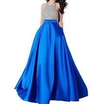 Women's Beaded Halter Prom Dresses Royal Blue, Evening Gown,Formal Party Dress - $189.00