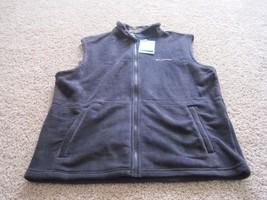 BNWT Columbia men's full zip up fleece vest, polyester, black/blue, Size... - $35.00
