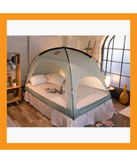 blue indoor bed tent wind block heating warm floorless zip opening winte... - $48.50+