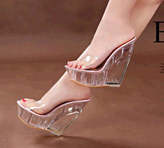 ps314 stunning high wedge sandals/slippy, plastic leather, US Size 4-9, pink - $52.80