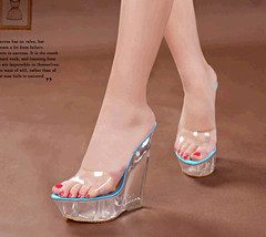 ps314 stunning high wedge sandals/slippy, plastic leather, US Size 4-9, blue - $52.80