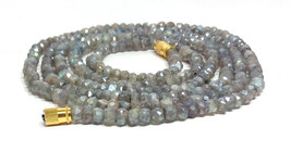 "Silverite Labradorite 3-4mm rondelle faceted beads 16"" beaded Choker necklace - $10.98"