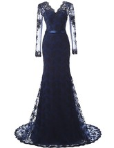 Long Sleeves Navy Blue Prom Dresses Mermaid, Evening Gown,Formal Party Dress - $179.00