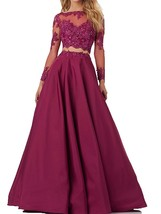 Two Piece Prom Dresses Long Sleeves, Evening Gown Long,Formal Party Dress - $159.00