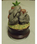 Music Box 2 Gray Rabbits with large Carrot Tune Talk to the Animals - $18.95
