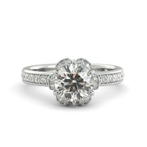 2.00 ct Round Cut Brilliant Moissanite & Diamond Halo Engagement Ring 18k W Gold - $1,548.00