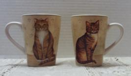Two Vintage ONEIDA David Carter Brown FELINE FRIENDS Cat Mugs - $16.00