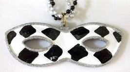 White Black Silver Mask Pendant Mardi Gras Necklace Triple Strand Beads ... - $6.17 CAD