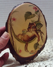 Vintage Wood Plaque Chipmunk in Hammock Wall Plaque Rustic Folk Art Decor - $8.75