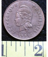French 100 Franc Coin 1991 New Caledonia Rare! - €2,68 EUR