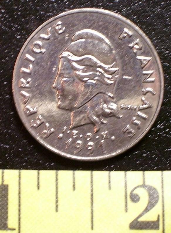 French 20 Franc Coin 1991 New Caledonia V. Fine Rare! - $3.00
