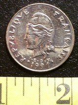 French 20 Franc Coin 1991 New Caledonia V. Fine #2 Rare! - $3.00