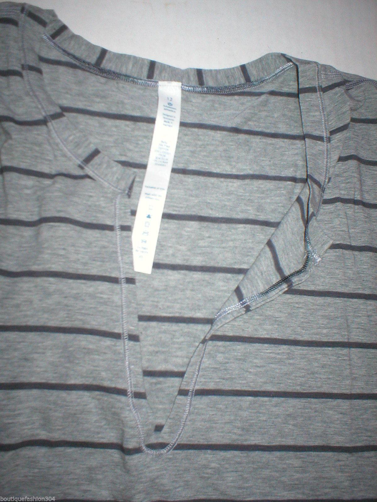 NWT Womens Lululemon New Yogi Cut Off Tee Top Shirt 10 12 Stripes Gray Yoga Soft