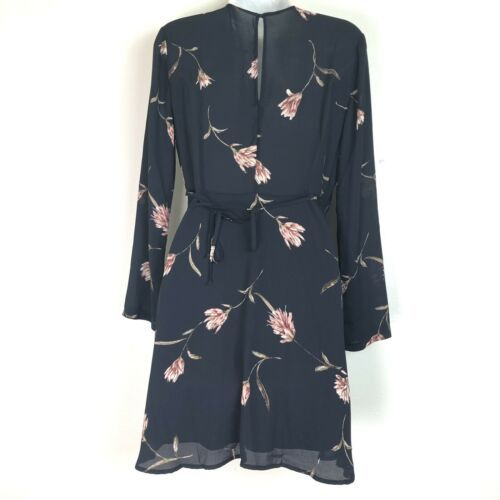 lush black floral Short Long Sleeve V Neck Wrap dress size S
