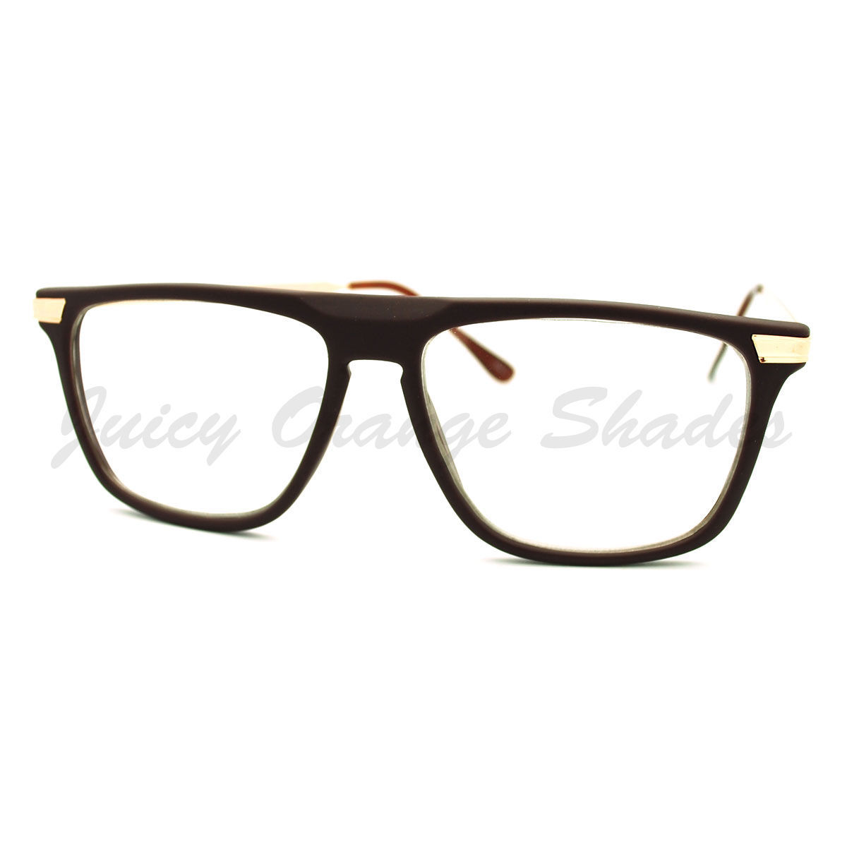 Clear Lens Glasses Flat Top Fashion Eyeglasses Thin Square Frame