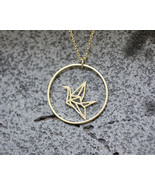 Origami Crane and Circle Necklace in gold / silver - $14.00