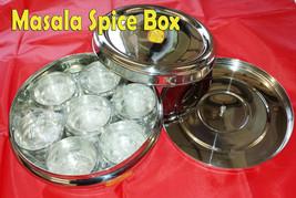 MASALA DABBA INDIAN SPICE TIN BOX STORAGE STAINLESS STEEL LID SET - $23.83+