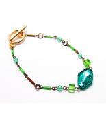 Woman vintage blue bracelet Retro metal blue jewelry Free shipping handm... - $14.00