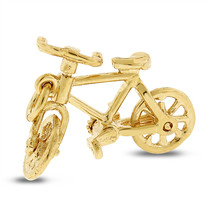 Vintage Bicycle Bike Moving Pedals & Wheels Charm In Solid 14k Yellow gold - $341.28