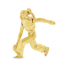 Vintage Man Bowling Moving Arm Charm In Solid 14k Yellow Gold - $257.13