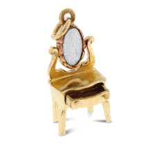 Vintage Dresser With Pullout Drawer Mirror Charm In Solid 14k Yellow Gold - $342.21