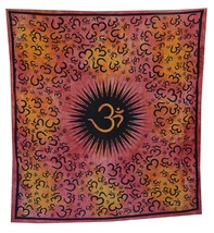 Indian Mandala Om Print Wall Hanging Indian Tapestry Throw Bedspread Dec... - $324,69 MXN