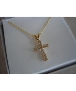 Roman Goldtone Cross, Paved Rhinestones, Chain, NIOB - $9.99