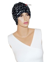 Charter Club Women's Hat Beanie Soft Chenille Eyelash Black with White $38 - $15.20