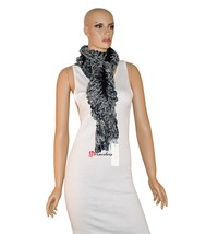 Charter Club Women's Scarf Black White and Metallic 90 x 8 Chenille Ruff... - ₨1,173.05 INR