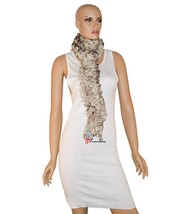 Charter Club Women's Scarf Ruffles Beige Brown with Metallic 90x8 Chenil... - ₨1,173.05 INR