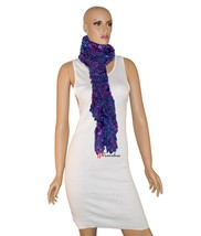 Charter Club Women's Scarf Purple Blue and Metallic 90x8 Chenille Ruffle... - ₨1,173.05 INR