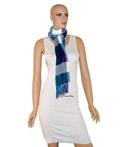 Charter Club Women's Scarf Mikinos Blue and White 68x10 Chenille Tassels... - ₨1,173.05 INR
