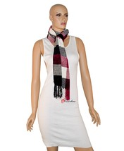 Charter Club Women's Scarf Cherry Red White Black 68x10 Chenille Tassels... - ₨1,078.89 INR