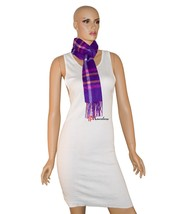 Charter Club Luxury Women's Scarf Purple 62x10 Checkered 100% Cashmere $95 - ₨2,653.34 INR