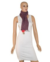 Charter Club Luxury Women's Scarf Scarlet Red with Black 64x10 100% Cash... - ₨2,653.34 INR