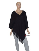 Charter Club Woman's Sweater Poncho Textured Deep Black and Fringe Cotto... - $27.80