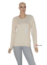 Charter Club Woman's Sweater Cable Knit Beige Long Sleeves Large Cotton ... - $23.80