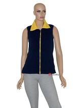 American Living Woman's Sweater Vest Fleece Navy Blue Yellow Polyester $... - $23.80
